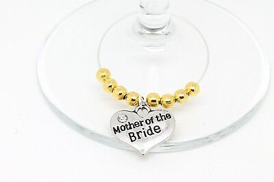 Personalised Gold Wedding Guest Wine Glass Charms Favours Table Decorations