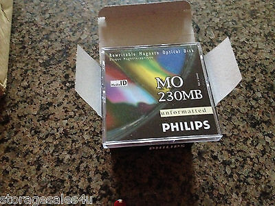 230MB MO New Philips Disk UNFORMATTED -MADE IN GERMANY -NEW in CASES-Boxes of 5