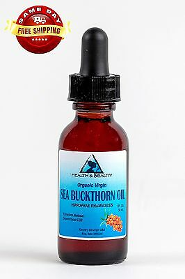 Sea Buckthorn Oil Unrefined Organic Virgin Co2 Extracted Pure Glass Dropper 1 Oz