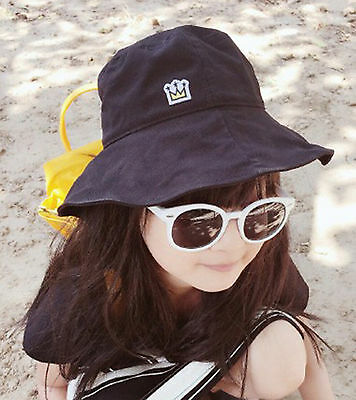 NEW Girls kid boy Black Fashion Crown Beach Travel Sun Bucket Hat Cap 3-9 years