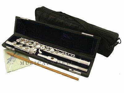 Advanced Open Hole FLUTE Silver Plated - B Foot Pointed Arms  + Carrying Bag