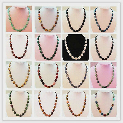 YSZ008 Beautiful Mixed Gemstone Oval Necklace 17.5 inch Pick Your Stone!