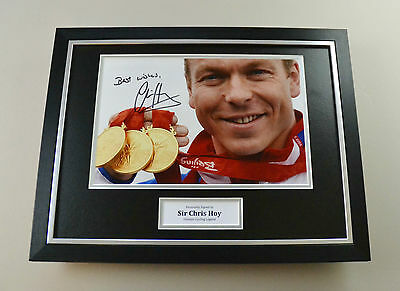 Sir Chris Hoy Signed Photo Framed 16x12 Cycling Autograph Display Memorabilia