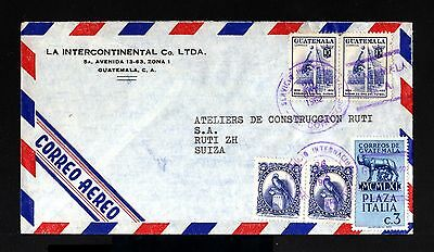 8657-GUATEMALA-AIRMAIL COVER GUATEMALA to RUTI (switzerland)1962.Aereo.Aerien.