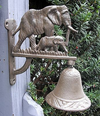 ELEPHANT With CALF Design Cast Iron HANGING BELL on a Scrolling Bracket ~ Baby ~