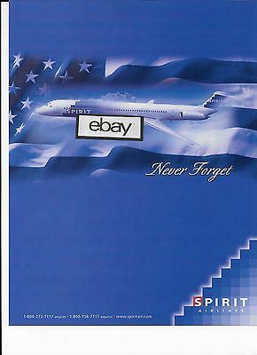 Spirit Airlines 2007 Md-80 Never Forget 911 Ad