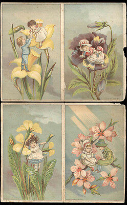 1880's DUTTON & SON, CHICKERING PIANOS, 2 TWO PANEL TRADE CARDS, TINY KIDS TC686