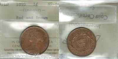SCARCE 1896 NEWFOUNDLAND LARGE ONE CENT, ICCS MS-64, RED and BROWN