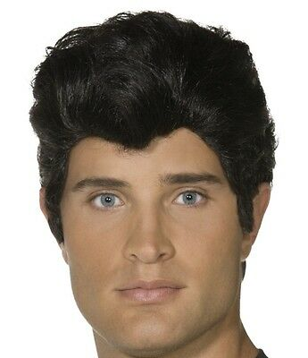 Mens Licensed 50s 1950s Danny from Grease Fancy Dress Wig Black New by Smiffys