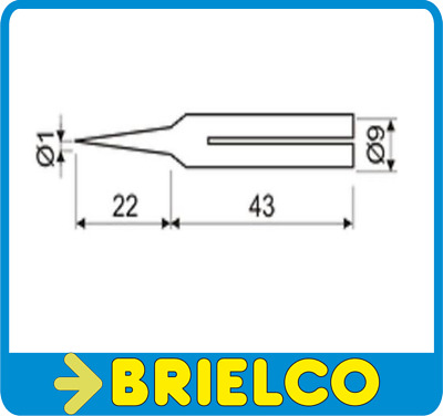 Punta Soldador 1Mm Larga Duracion Diametro Cuerpo Interior 6Mm Ext. 9Mm  Bd4005