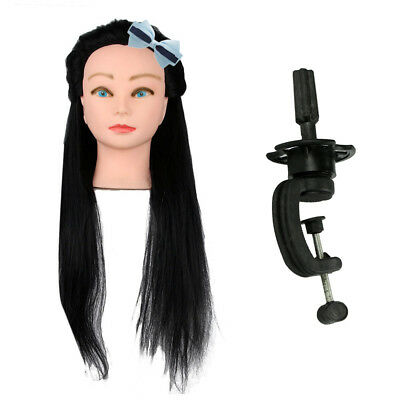 """18"""" Practice 100% Real Human Hair Hairdressing Training Head Doll Mannequin Clam"""