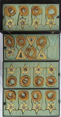 Vintage Rare Set Of 16 Fabulous 1890's Masonic Officers Jewels+Fitted Case