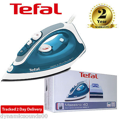 Tefal Maestro 40 FV3740M0 Non-Stick Soleplate 2000W Steam Iron In Blue