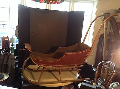 1860's Antique Child's Sleigh Baby Carriage Buggy Original Red w/Gold Stripes