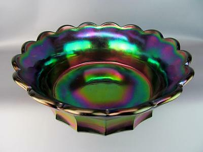 "CARNIVAL GLASS - IMPERIAL Gorgeous Purple FLUTE #700 9.5"" Master Bowl"
