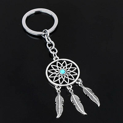 Silver Tone Key Chain Ring Feather Tassels Dream Catcher Keyring Keychain Gift