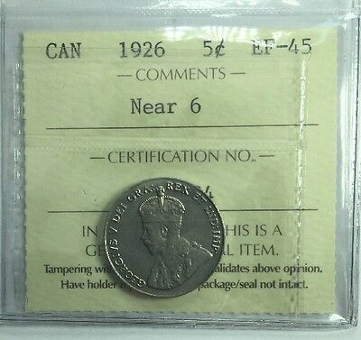 1926 Canadian Five Cent Coin ICCS Graded EF-45 Near 6