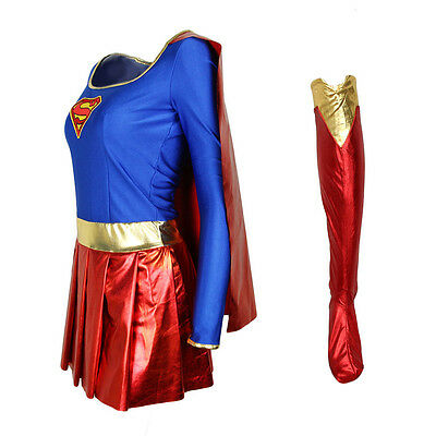 Supergirl Superhero Fancy Dress Costume Halloween Super Women Lady Outfit Adult