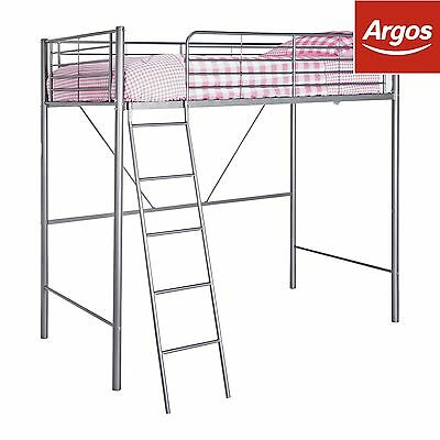 HOME Metal High Sleeper Bed Frame, Bunk - Silver :The Official Argos Store