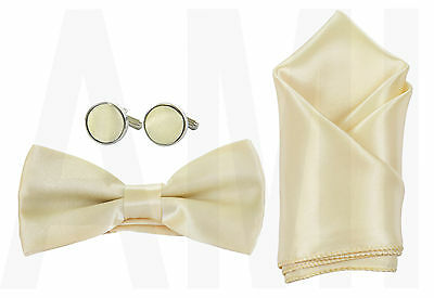 Mens Boys Or Babies Antique Ivory Bow Tie, Cufflinks Or Handkerchief Or Full Set