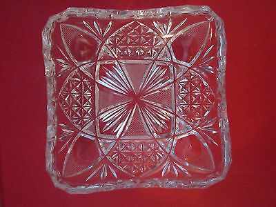 """Antique Clear Glass Finger Candy Dish 4-3/4"""" Square Cut Crystal"""