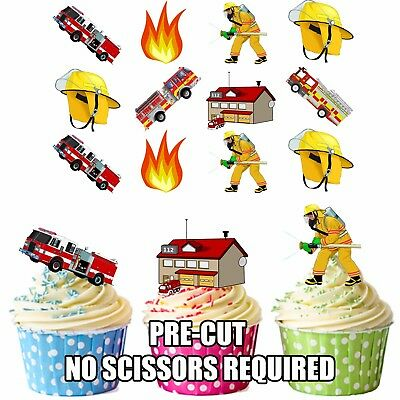 PRECUT Fireman Themed 36 Edible Cupcake Toppers Decorations Boys Mens Birthday