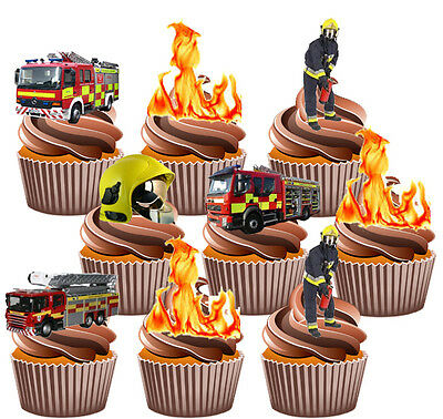 Fireman Party Pack Birthday Cake Decorations 36 Edible Stand-up Cupcake Toppers