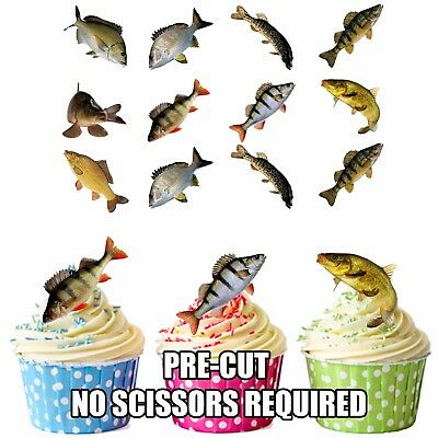 Fish Carp Pike Party Pack Cake Decorations 36 Edible Stand-up Cupcake Toppers