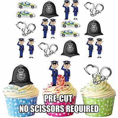 PRECUT Police Policeman Party Themed 36 Edible Cupcake Toppers Cake Decorations