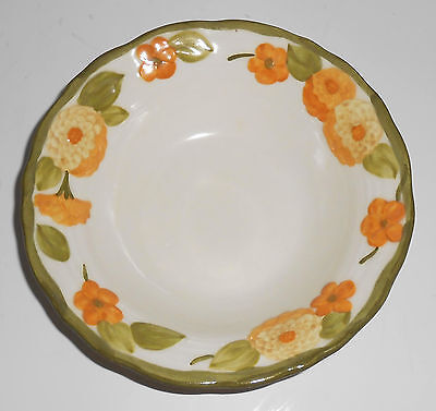 Metlox Pottery Poppy Trail Sculptured Zinnia Fruit Bowl Mint