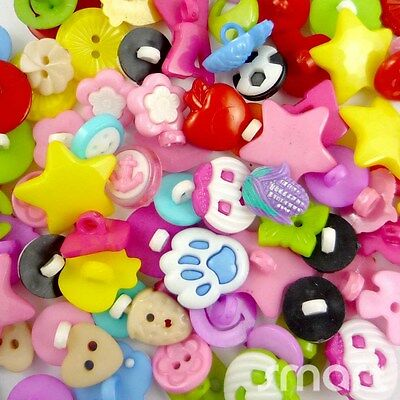 100pcs Bulk Assorted Plastic Cartoon Baby Sewing Button Lots Craft Cards DIY