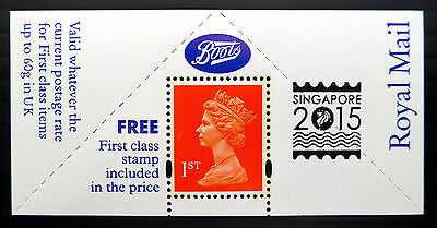 GB SINGAPORE 2015 Exhibition OVERPRINT on Limited Edition Boots Label FP3762