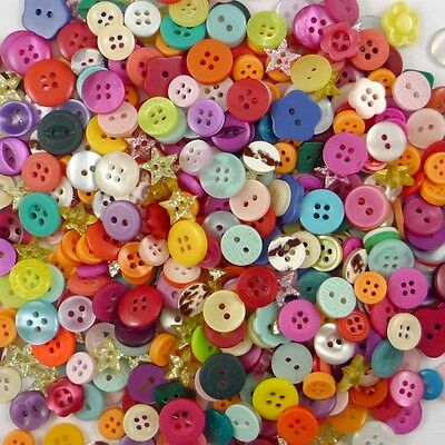100pcs Bulk Assorted Plastic Sewing Button Lots Toy Craft Cards Embellish DIY
