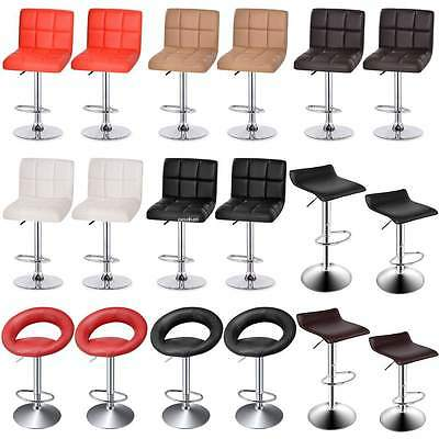 2 x Synthetic Leather Breakfast Bar Stool Swivel Kitchen Chrome & Gas Lift Easy