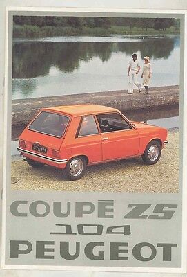 1976 Peugeot 104 Coupe ZS Brochure French my5965