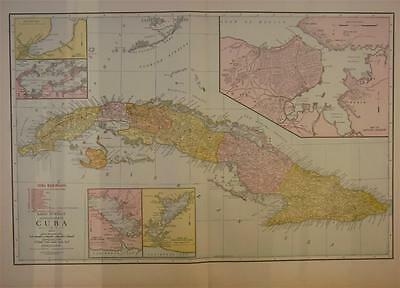 1921 Cuba Large 2-page Antique Color Commercial Map ....95 years-old!!