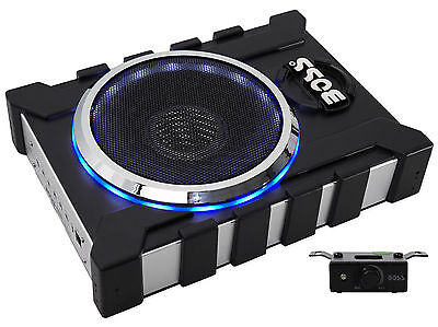 """Boss BASS1300.3 8"""" 1300W Slim/Low Profile Powered Subwoofer Sub+2-Ch. Amp Output"""
