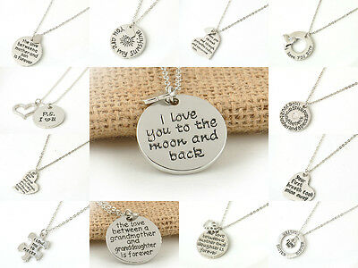 Fashion Love Heart Words Silver Pendant Necklace Family Jewelry