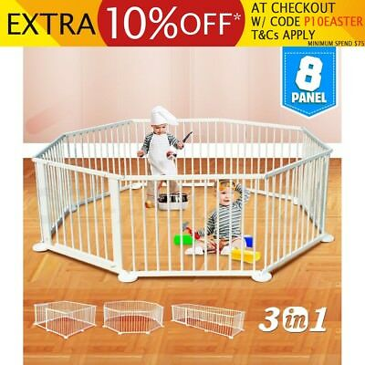 Kids Baby Toddler Deluxe Natural Wooden Divider Safety Gate 8 Panel White