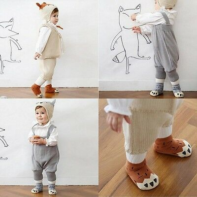 S/M Cute Cotton Thick Winter Baby Infant Kid Non-slip Sock Paw Print F 0-4 Years