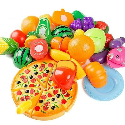 New Kitchen Food Pretend Game Toy Cutting Vegetable Fruit Kids Educational Toys