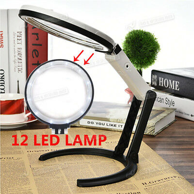 Global 12 LED Desk Magnifying Table Lamp Foldable Magnifier Glass 5x Spots Lens