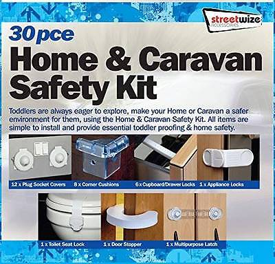 30Pce Home & Caravan Baby / Child Safety Kit - Door Socket Covers Locks & Guards