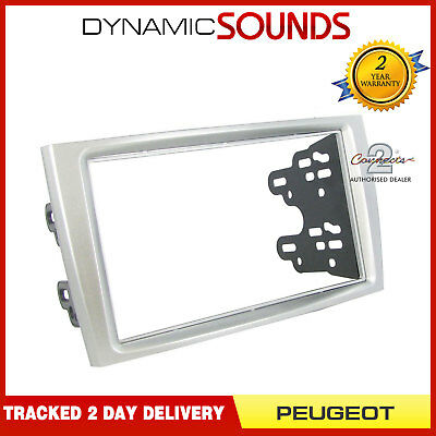 CT23PE05 Double Din Car Stereo SILVER Fascia Panel For PEUGEOT 308 2007-2014