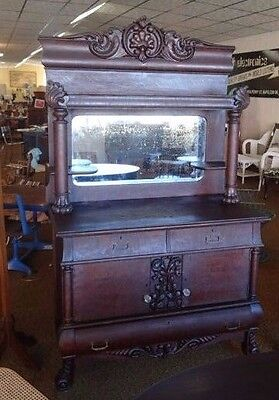 Antique Ornate Carved Mahogany American Empire Claw Feet Sideboard Buffet Hutch
