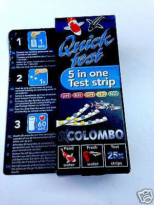 Colombo Quick Test Kit 25 Strips - Pond & Freshwater Tropical Aquarium Quick Dip