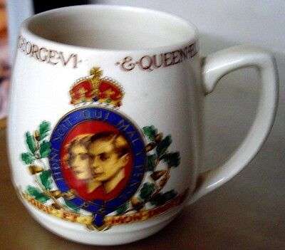 Burleigh Pottery Mug For Coronation Of King George V1 & Queen Elizabeth May 1937