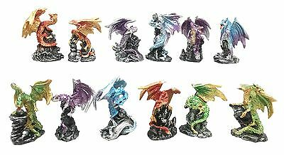 Ancient Mythical Fantasy Rune Elemental Dragon Figurine 12 Mini Collectible Set