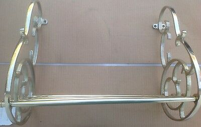 Brass Railroad Style Wall Shelf Train Coat Hanger Hat, towel Rack Metal Decor