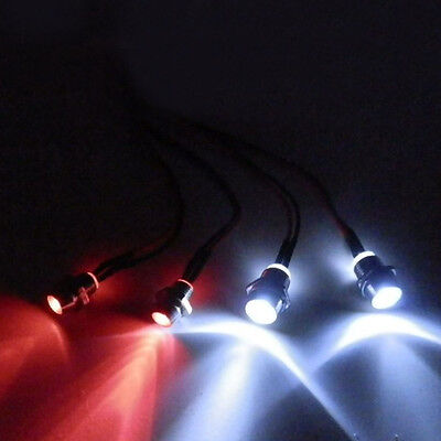 4pcs Mini 5mm&3mm Headlamps Head Tail LED lights For RC 1:10 On-Road Car Futaba